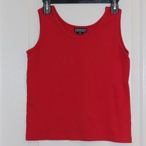 Lands End Medium Sleeveless Top Red Scoop Neck